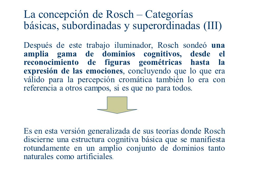La concepción de Rosch – Categorías básicas, subordinadas y superordinadas (III)