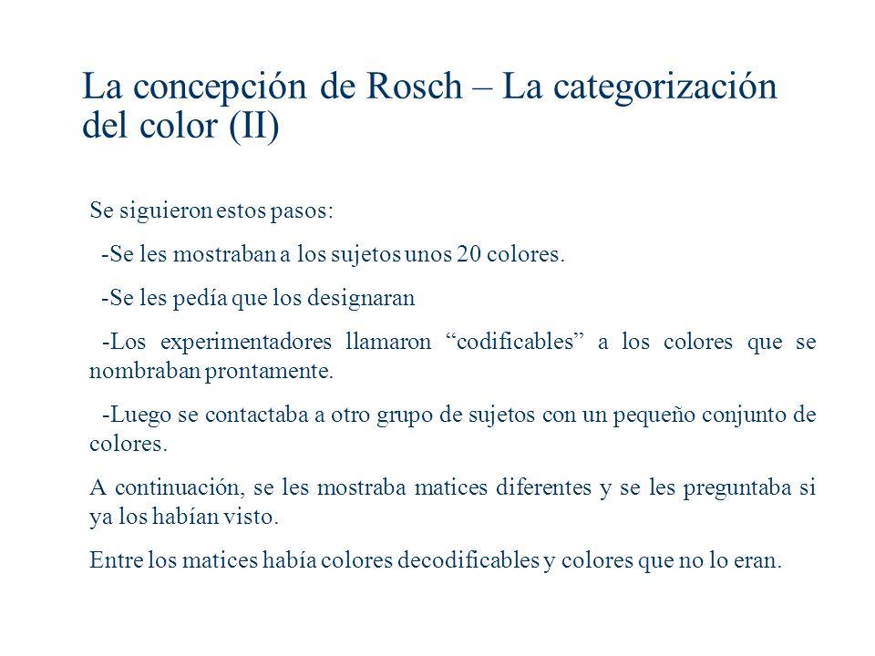 La concepción de Rosch – La categorización del color (II)
