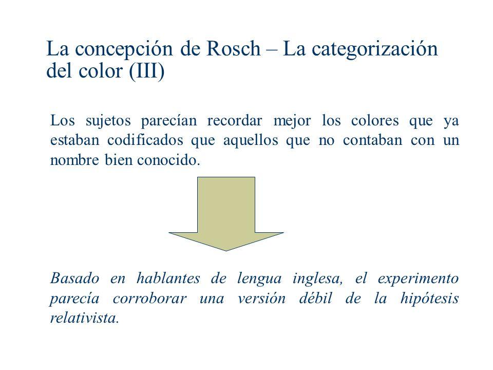 La concepción de Rosch – La categorización del color (III)