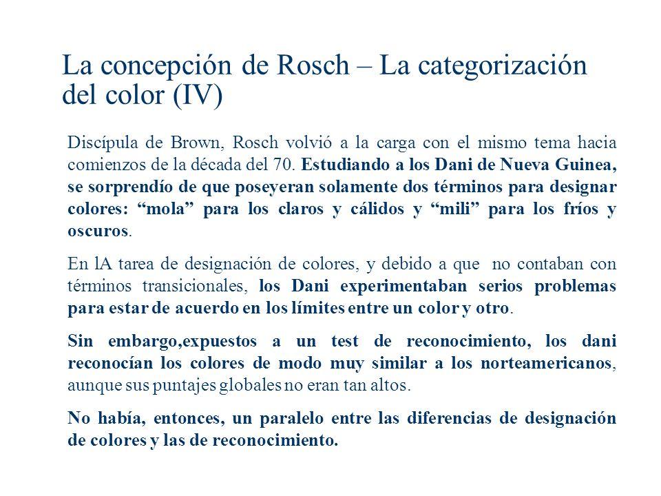 La concepción de Rosch – La categorización del color (IV)