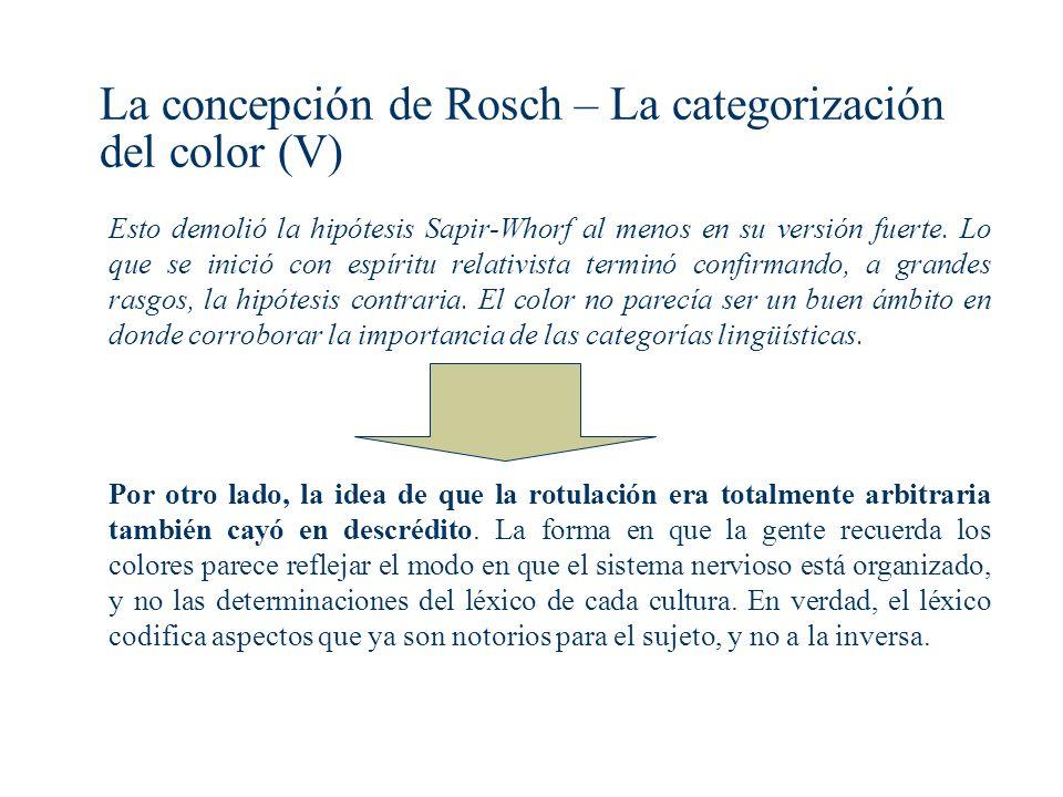 La concepción de Rosch – La categorización del color (V)