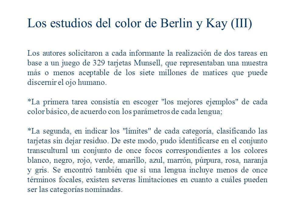 Los estudios del color de Berlin y Kay (III)