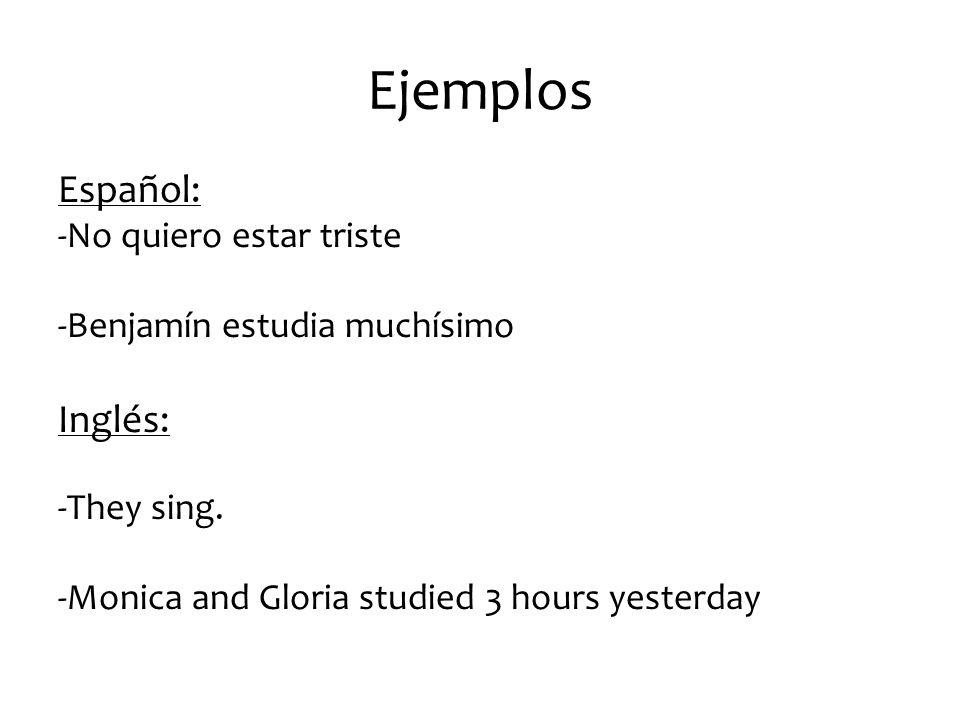Ejemplos Español: Inglés: -No quiero estar triste