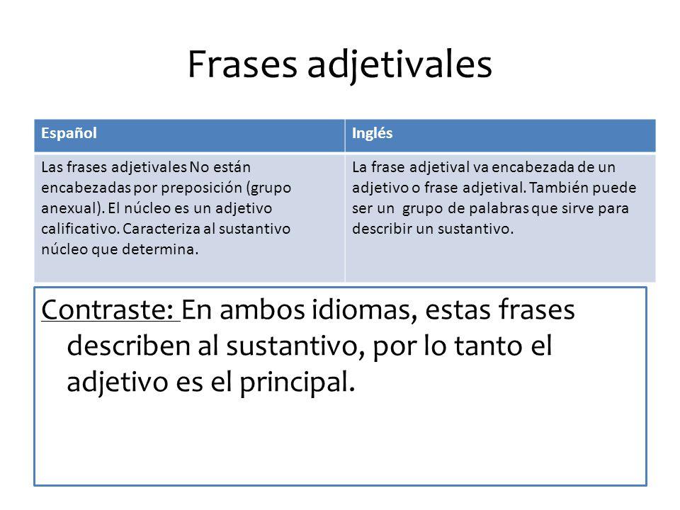 Frases adjetivales Español. Inglés.