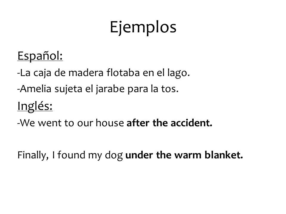 Ejemplos Español: Inglés: -La caja de madera flotaba en el lago.