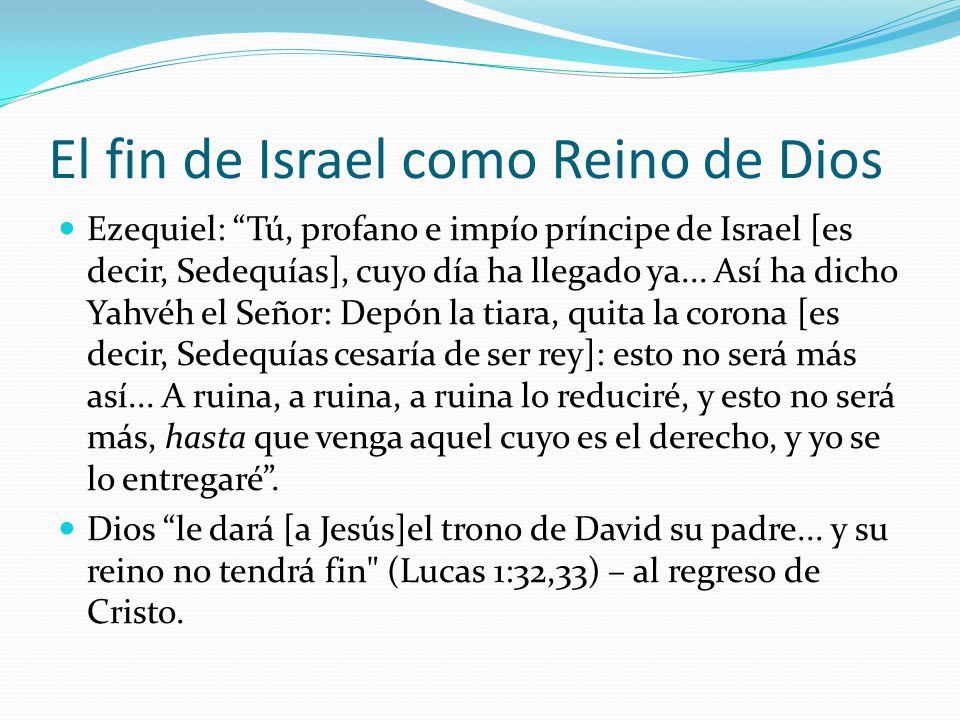 El fin de Israel como Reino de Dios