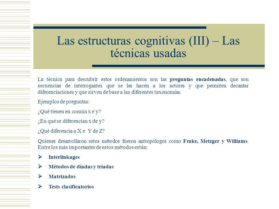 Las estructuras cognitivas (III) – Las técnicas usadas