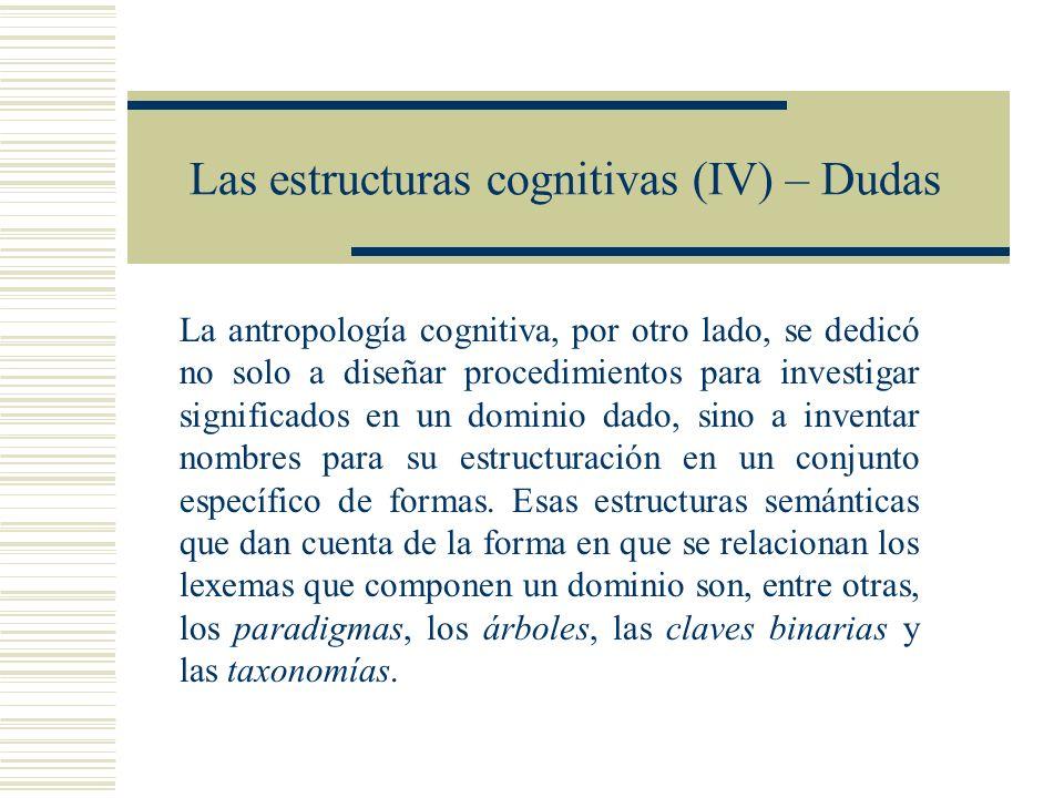 Las estructuras cognitivas (IV) – Dudas