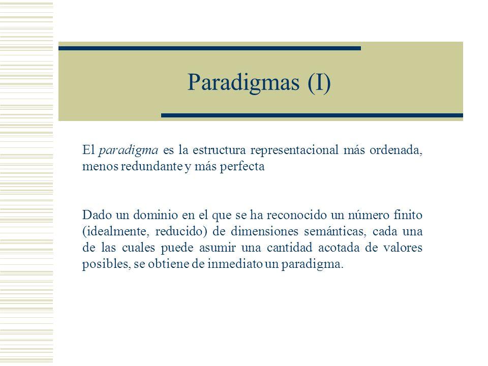 Paradigmas (I) El paradigma es la estructura representacional más ordenada, menos redundante y más perfecta.