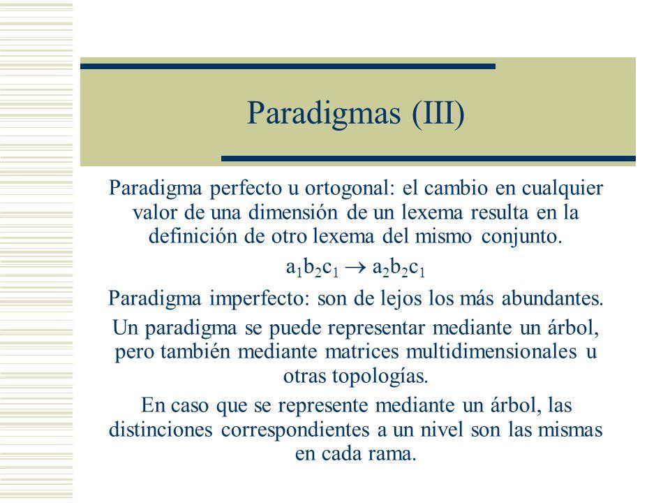 Paradigma imperfecto: son de lejos los más abundantes.