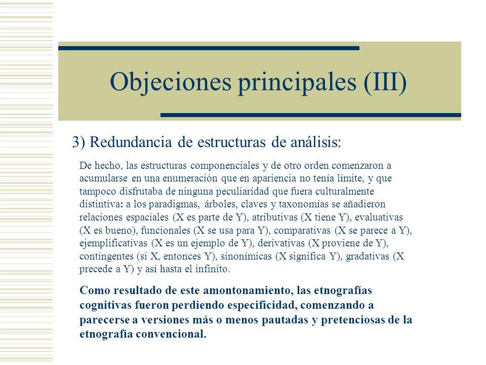Objeciones principales (III)