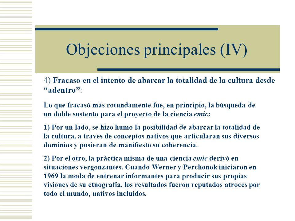 Objeciones principales (IV)