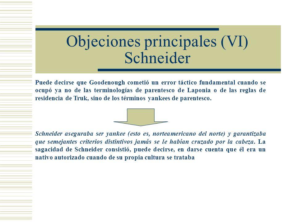 Objeciones principales (VI) Schneider
