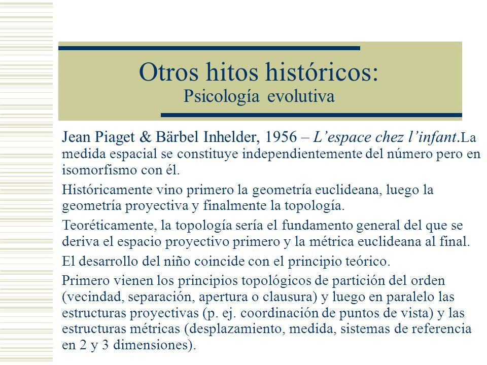 Otros hitos históricos: Psicología evolutiva