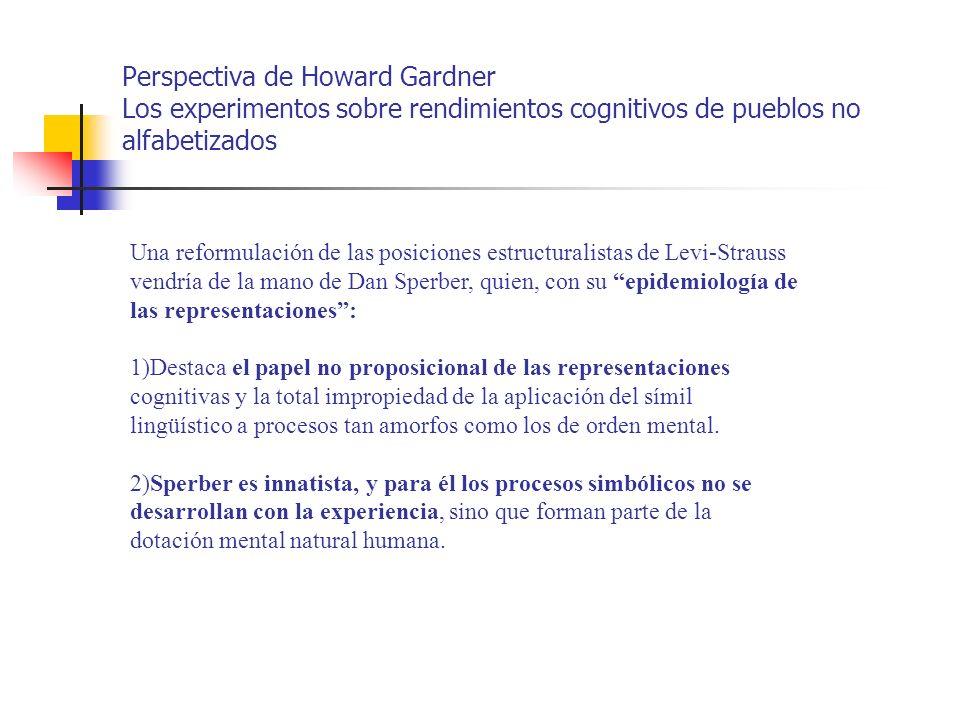 Perspectiva de Howard Gardner Los experimentos sobre rendimientos cognitivos de pueblos no alfabetizados