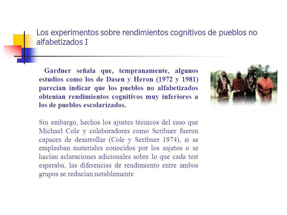Los experimentos sobre rendimientos cognitivos de pueblos no alfabetizados I