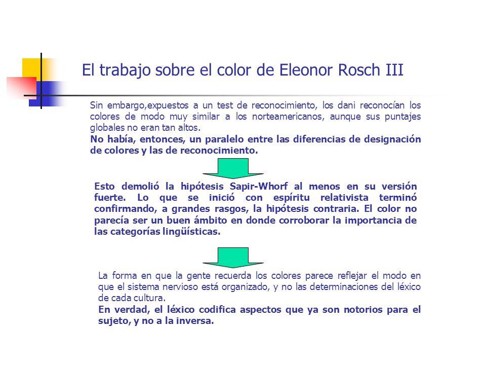 El trabajo sobre el color de Eleonor Rosch III