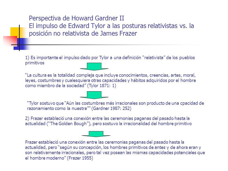 Perspectiva de Howard Gardner II El impulso de Edward Tylor a las posturas relativistas vs. la posición no relativista de James Frazer