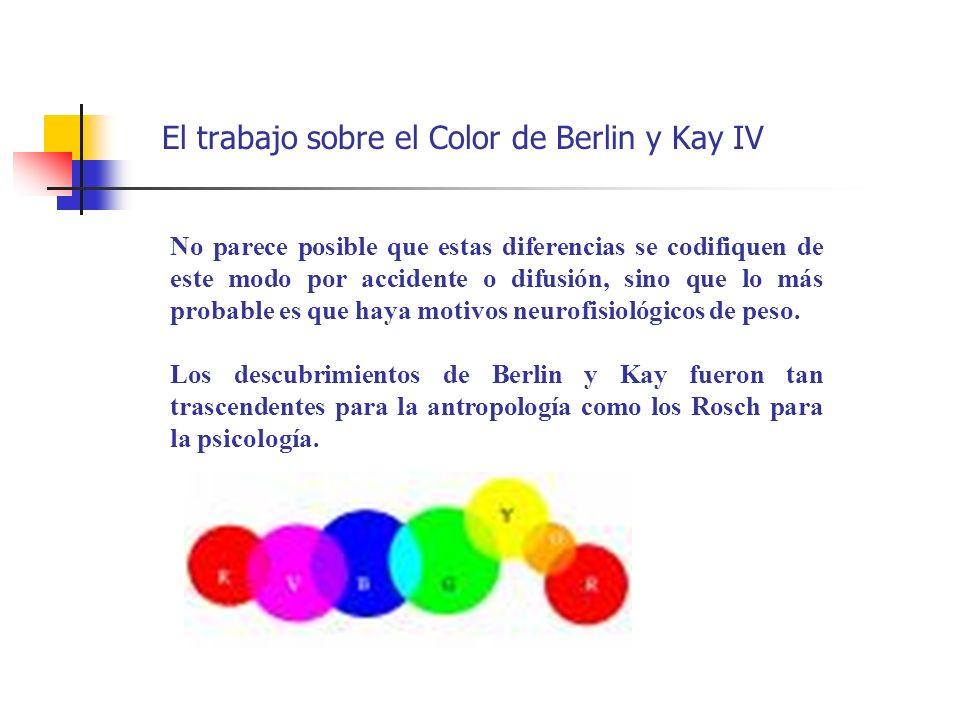 El trabajo sobre el Color de Berlin y Kay IV