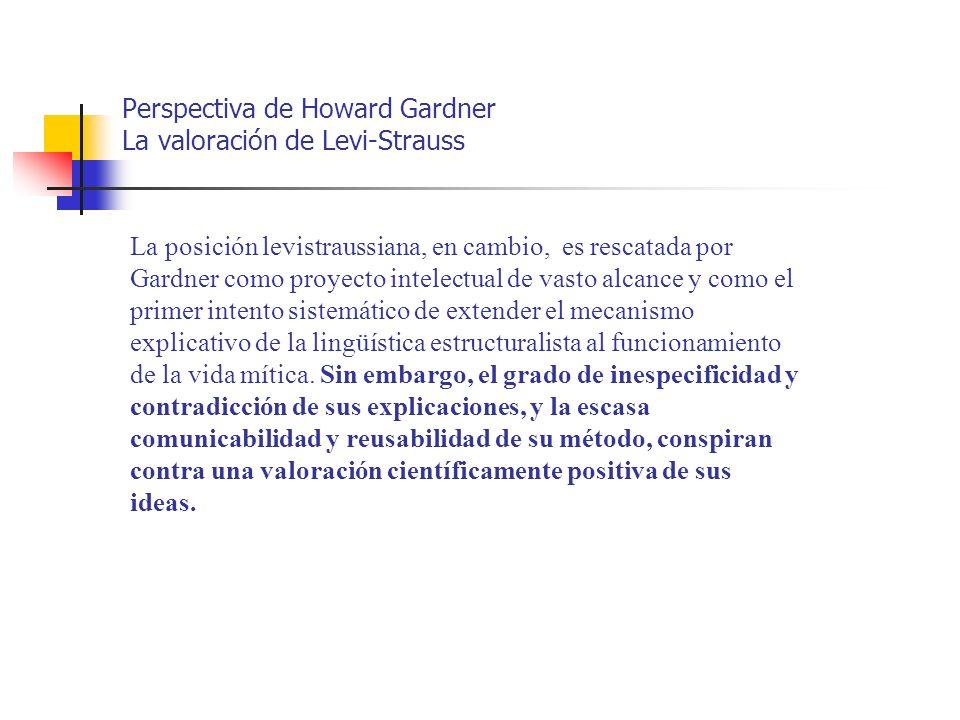 Perspectiva de Howard Gardner La valoración de Levi-Strauss