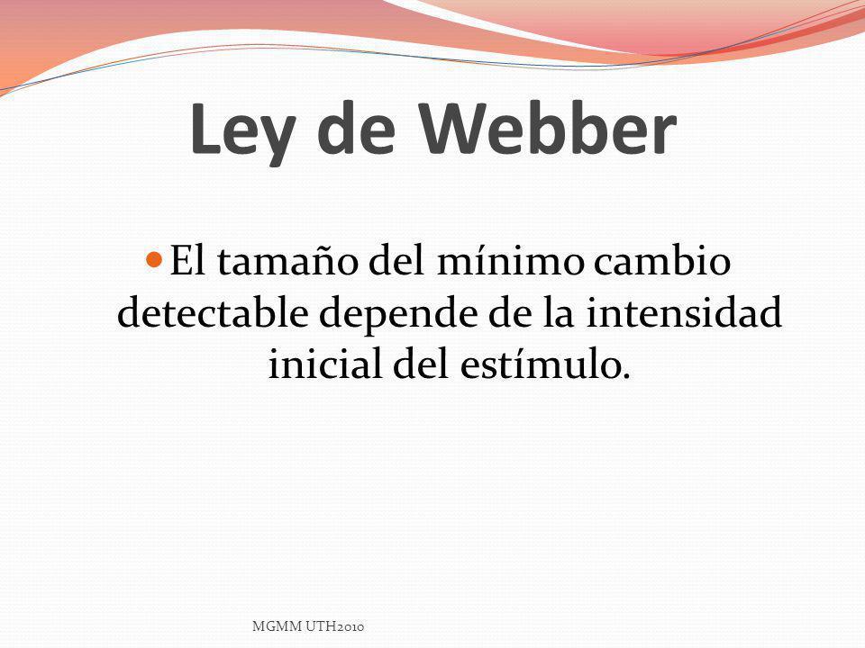 Ley de Webber El tamaño del mínimo cambio detectable depende de la intensidad inicial del estímulo.