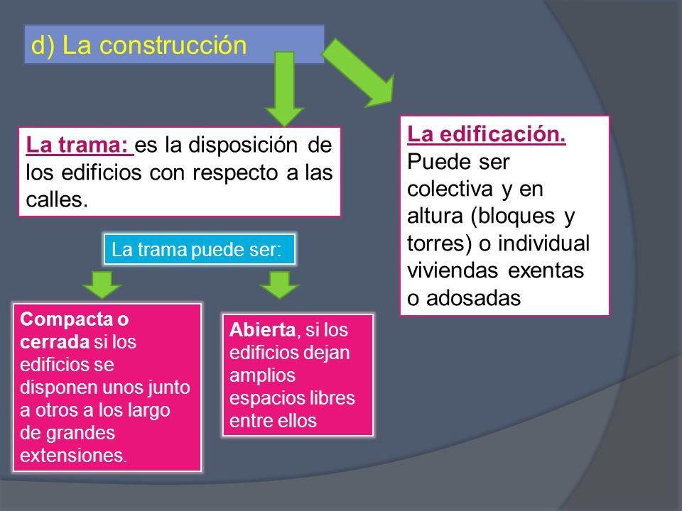 d) La construcción La edificación. Puede ser colectiva y en altura (bloques y torres) o individual viviendas exentas o adosadas.