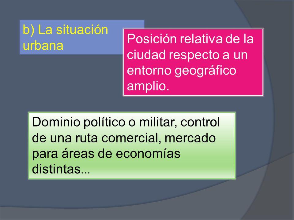 b) La situación urbana Posición relativa de la ciudad respecto a un entorno geográfico amplio.
