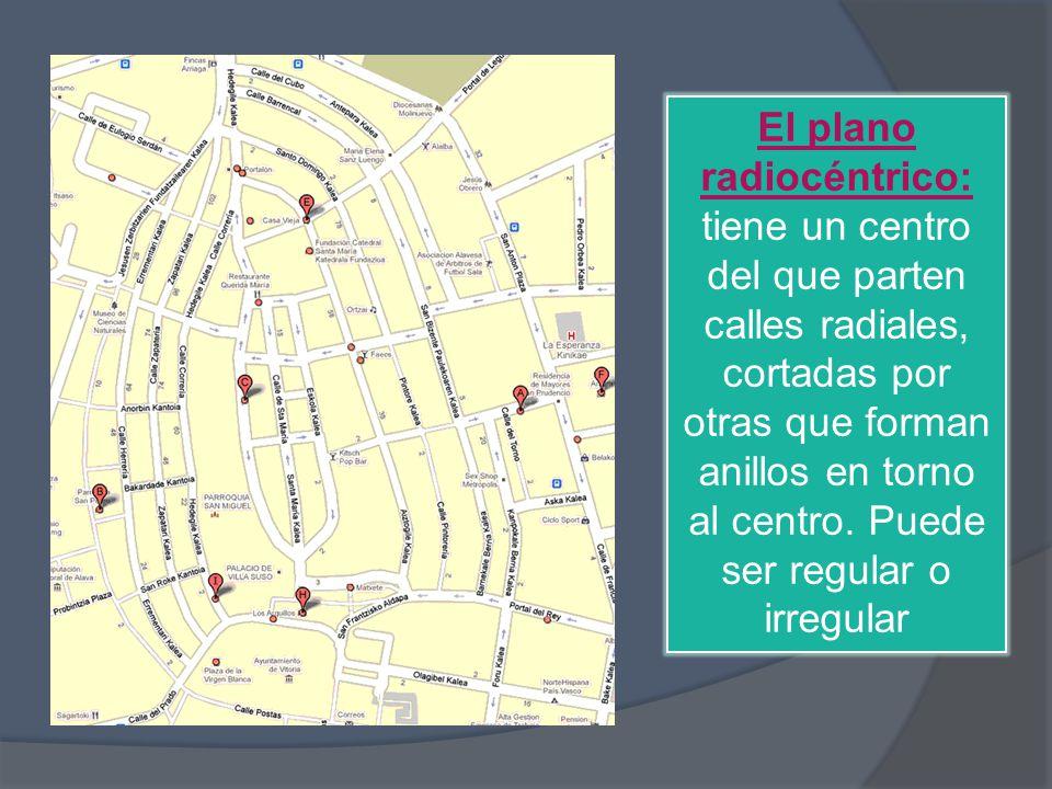 El plano radiocéntrico: tiene un centro del que parten calles radiales, cortadas por otras que forman anillos en torno al centro.