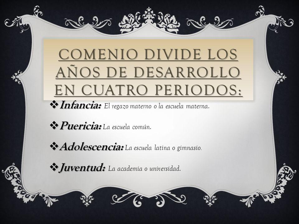 COMENIO DIVIDE LOS AÑOS DE DESARROLLO EN CUATRO PERIODOS: