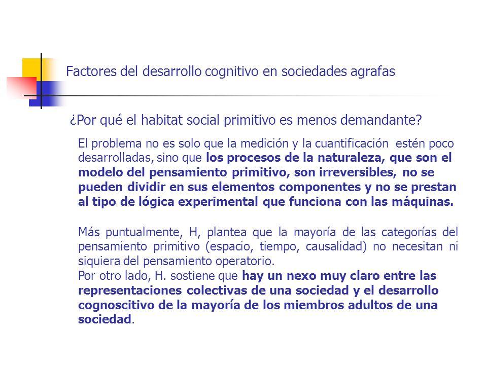 Factores del desarrollo cognitivo en sociedades agrafas