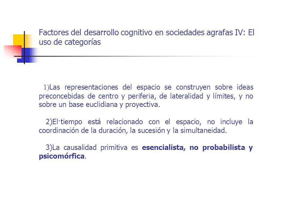 Factores del desarrollo cognitivo en sociedades agrafas IV: El uso de categorías