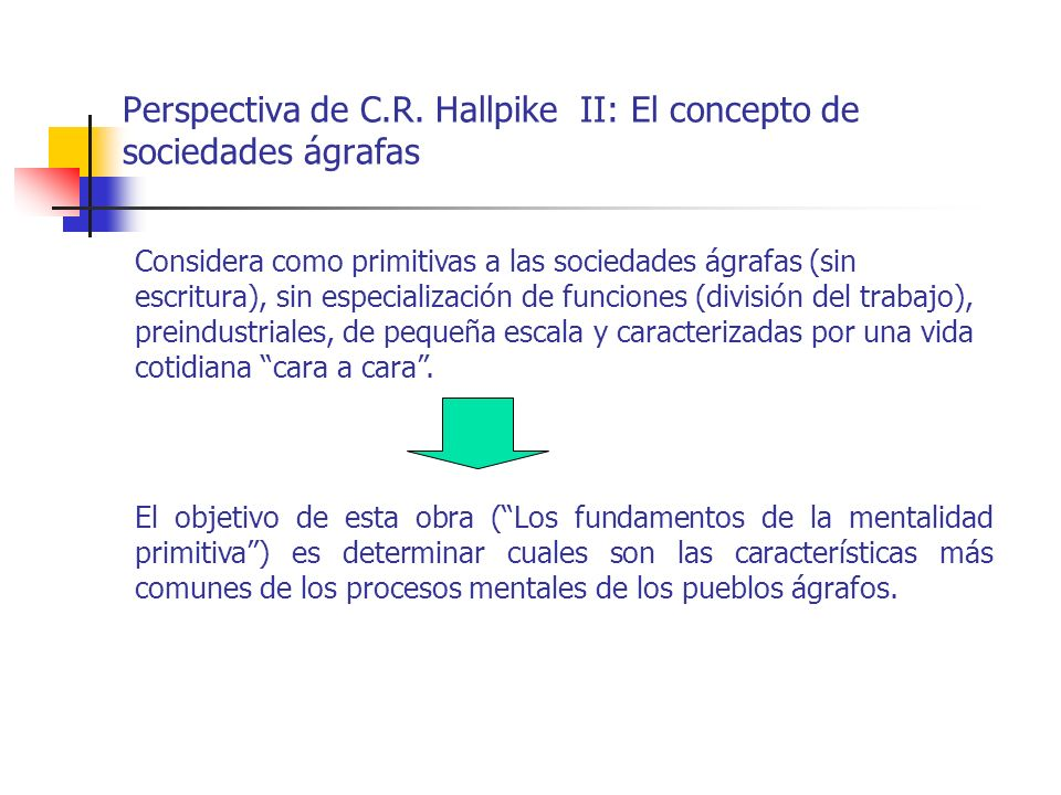 Perspectiva de C.R. Hallpike II: El concepto de sociedades ágrafas