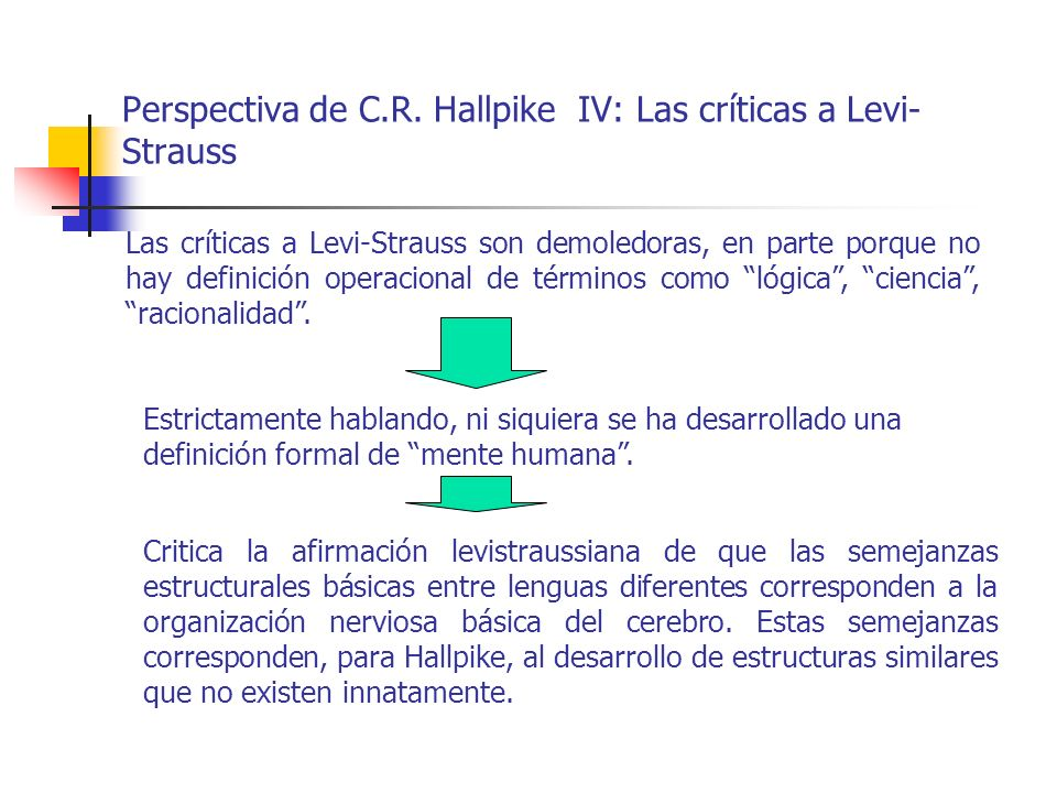 Perspectiva de C.R. Hallpike IV: Las críticas a Levi-Strauss