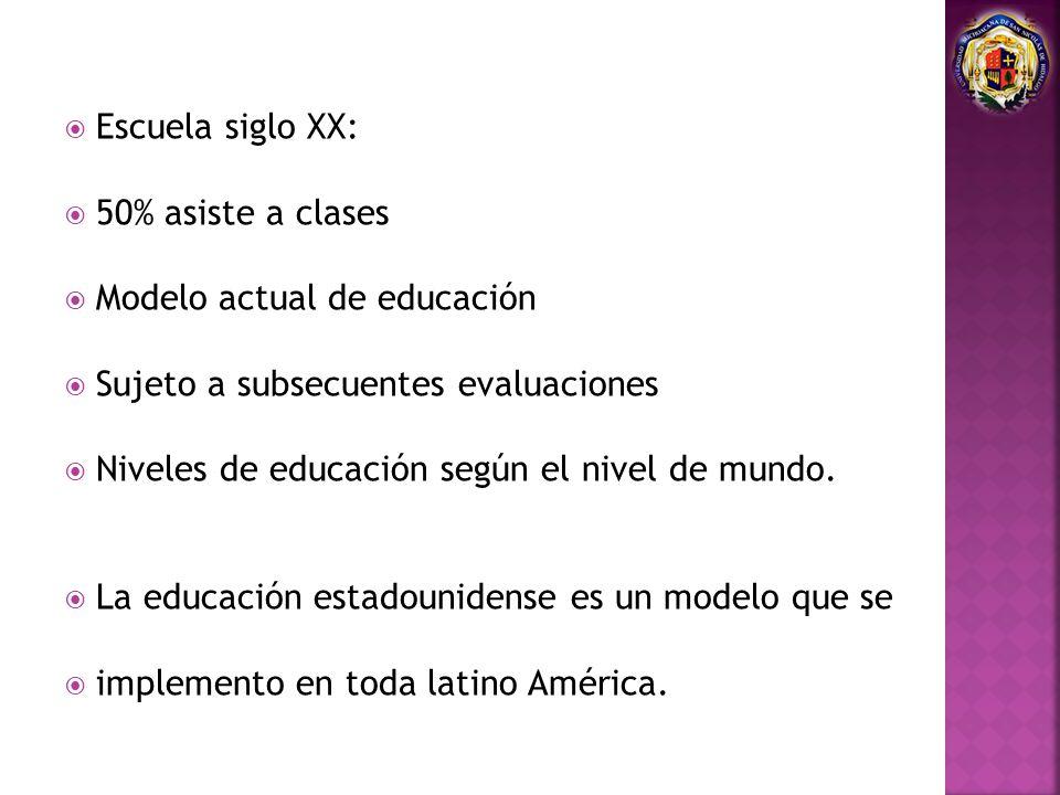Escuela siglo XX: 50% asiste a clases. Modelo actual de educación. Sujeto a subsecuentes evaluaciones.