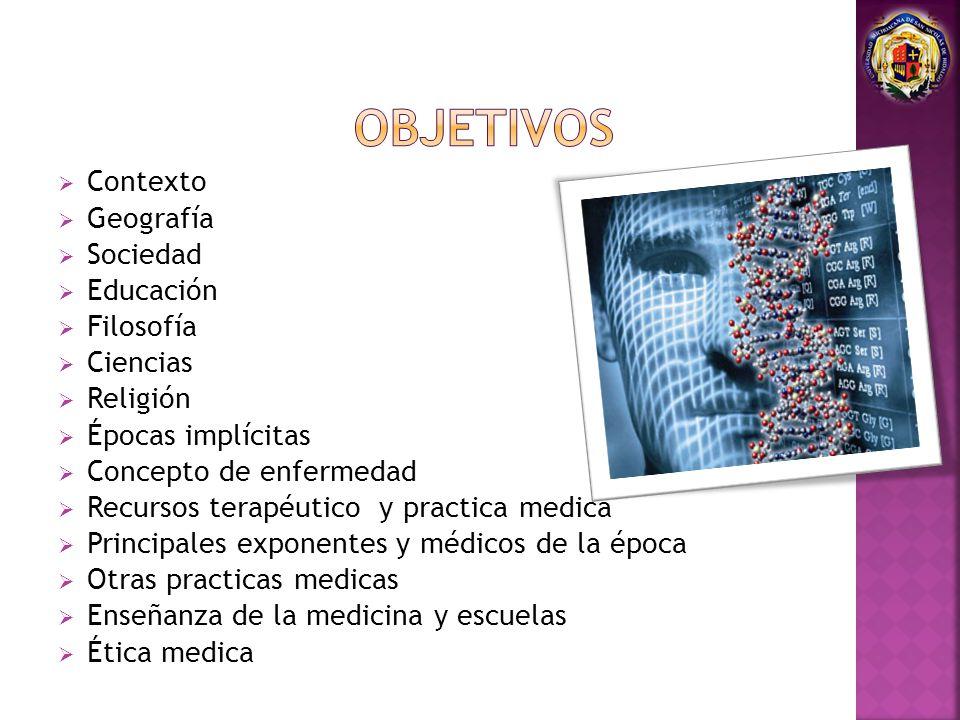 OBJETIVOS Contexto Geografía Sociedad Educación Filosofía Ciencias