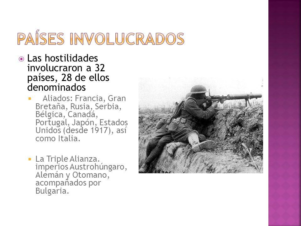 Países involucrados Las hostilidades involucraron a 32 países, 28 de ellos denominados.