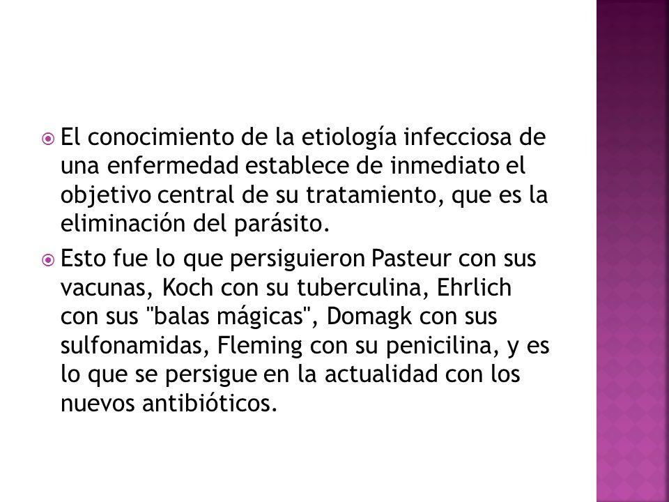 El conocimiento de la etiología infecciosa de una enfermedad establece de inmediato el objetivo central de su tratamiento, que es la eliminación del parásito.