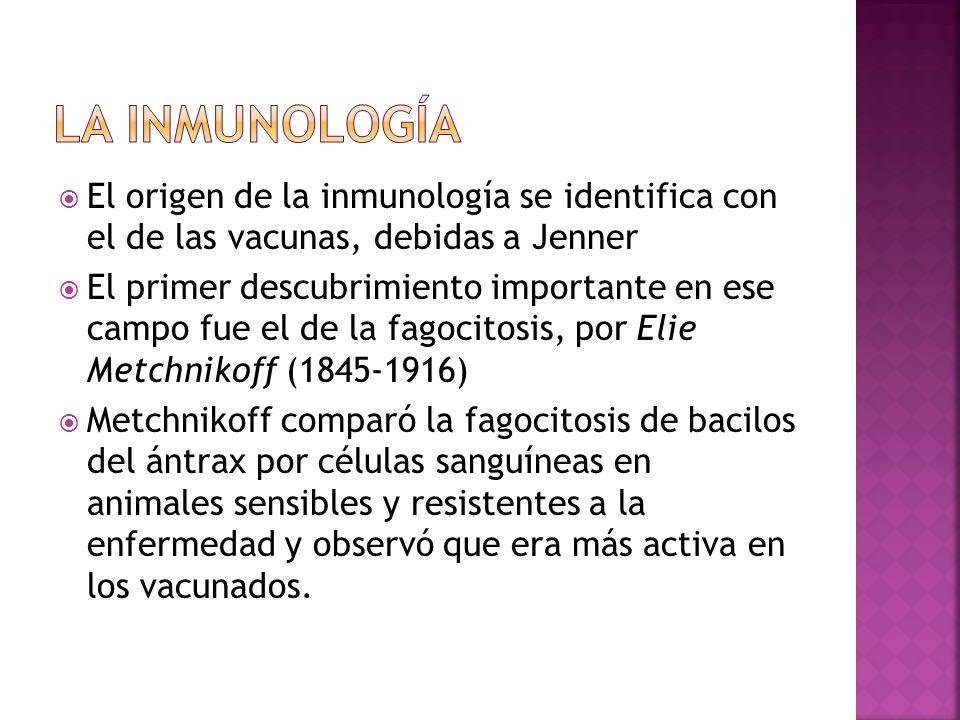 LA INMUNOLOGÍA El origen de la inmunología se identifica con el de las vacunas, debidas a Jenner.