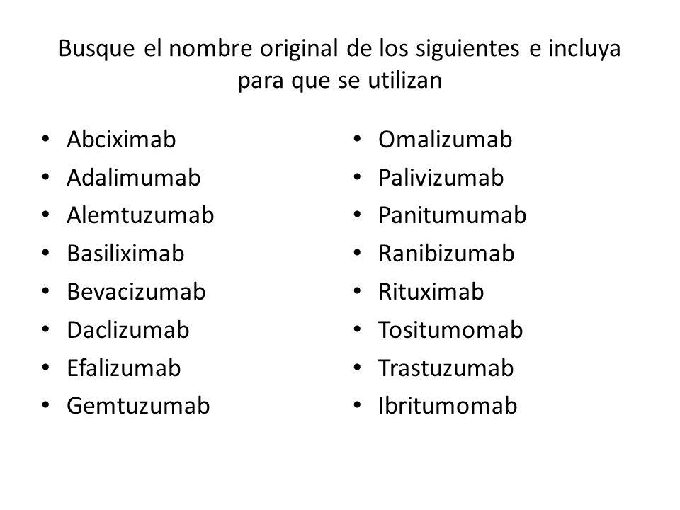 Busque el nombre original de los siguientes e incluya para que se utilizan