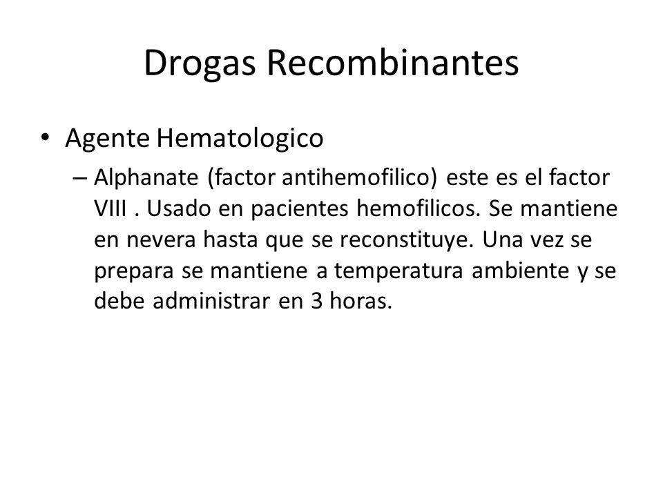 Drogas Recombinantes Agente Hematologico