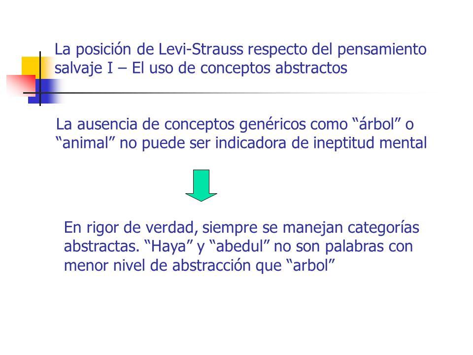 La posición de Levi-Strauss respecto del pensamiento salvaje I – El uso de conceptos abstractos