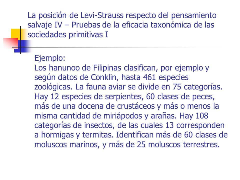La posición de Levi-Strauss respecto del pensamiento salvaje IV – Pruebas de la eficacia taxonómica de las sociedades primitivas I