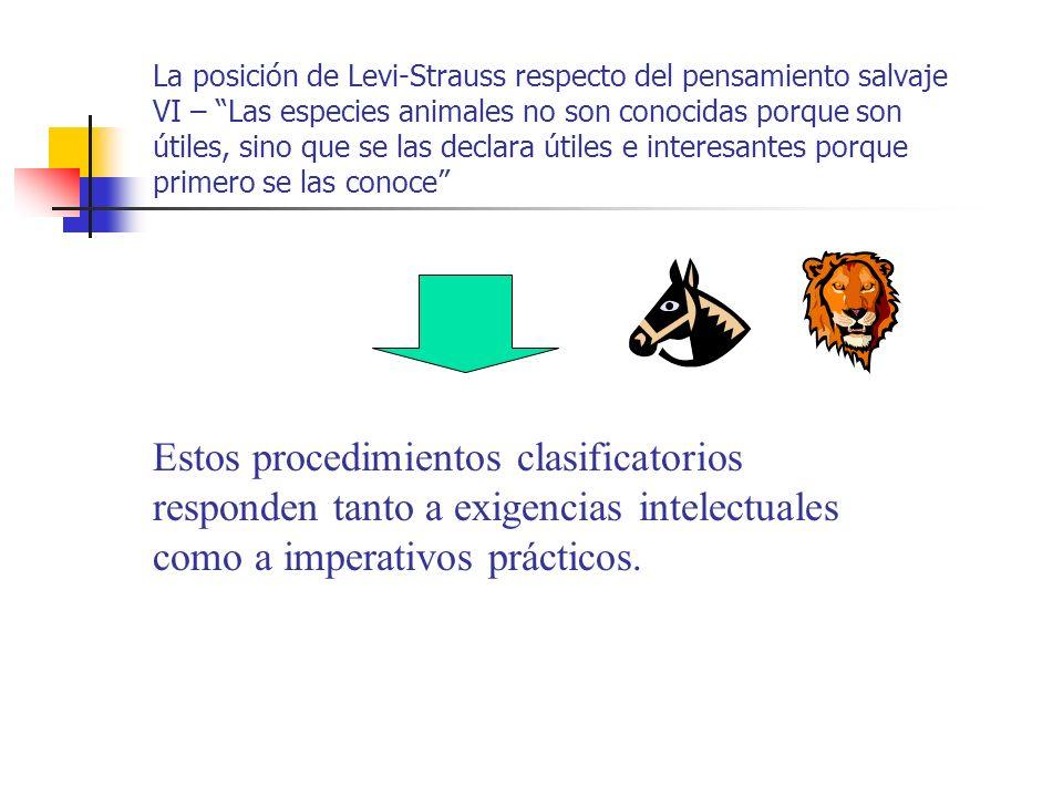 La posición de Levi-Strauss respecto del pensamiento salvaje VI – Las especies animales no son conocidas porque son útiles, sino que se las declara útiles e interesantes porque primero se las conoce