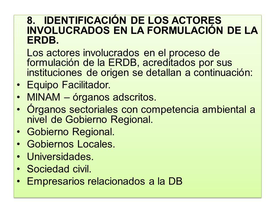 8. IDENTIFICACIÓN DE LOS ACTORES INVOLUCRADOS EN LA FORMULACIÓN DE LA ERDB.