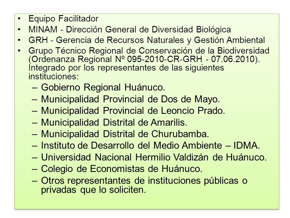 Gobierno Regional Huánuco. Municipalidad Provincial de Dos de Mayo.