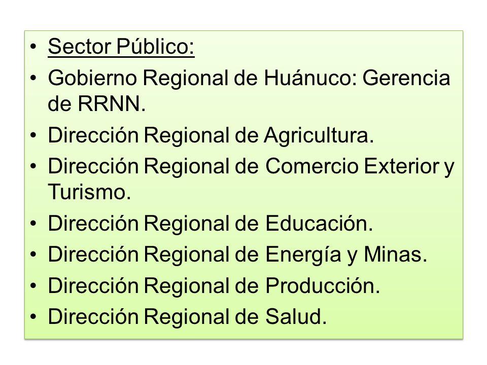 Sector Público: Gobierno Regional de Huánuco: Gerencia de RRNN. Dirección Regional de Agricultura.