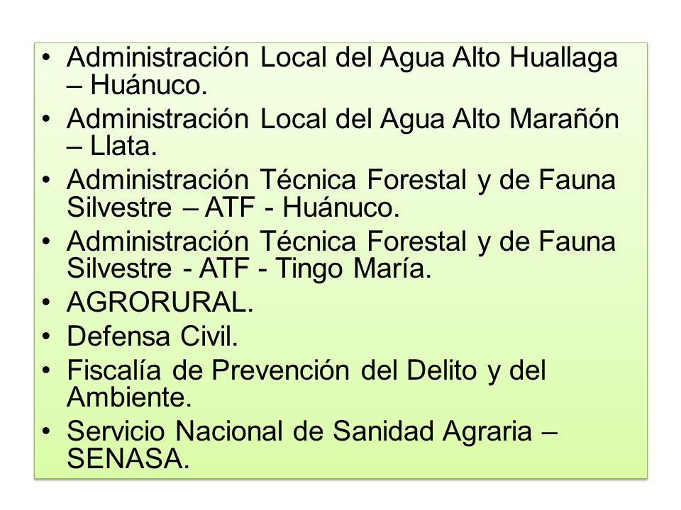 Administración Local del Agua Alto Huallaga – Huánuco.