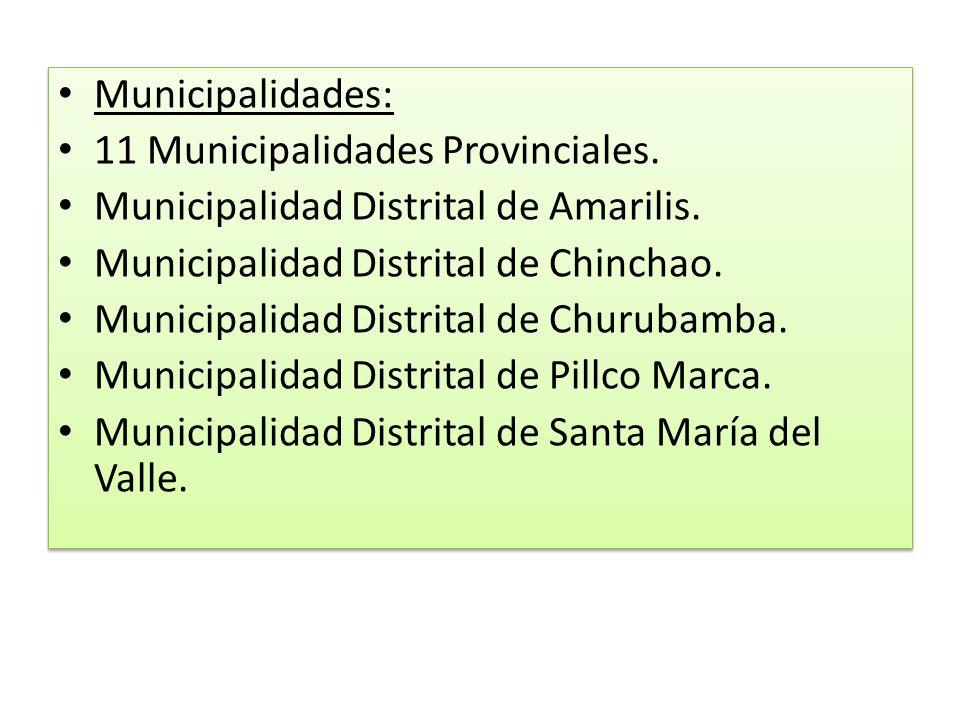 Municipalidades: 11 Municipalidades Provinciales. Municipalidad Distrital de Amarilis. Municipalidad Distrital de Chinchao.