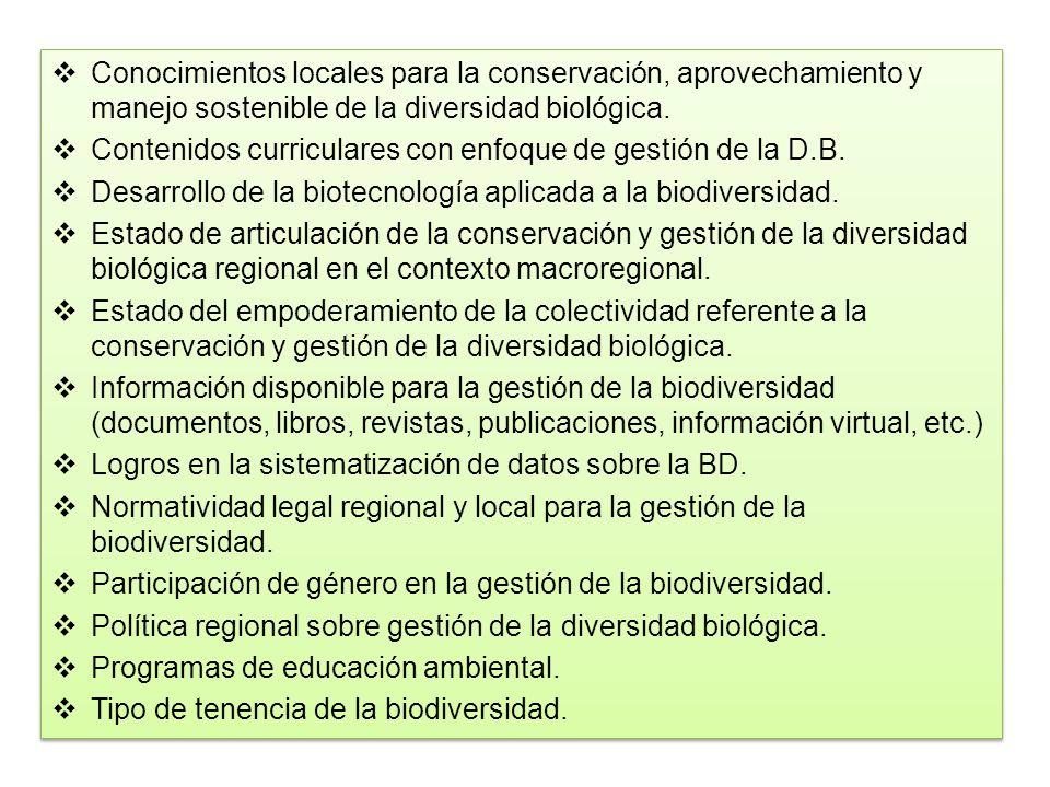 Conocimientos locales para la conservación, aprovechamiento y manejo sostenible de la diversidad biológica.