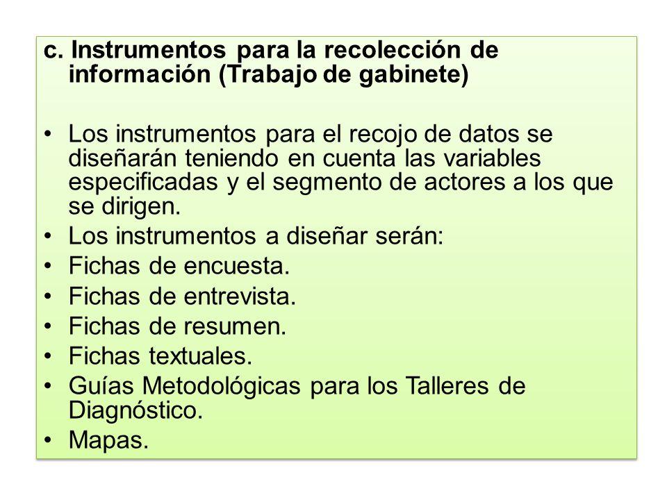 c. Instrumentos para la recolección de información (Trabajo de gabinete)